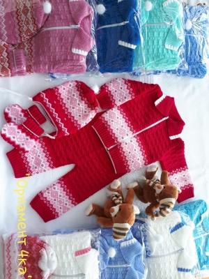 Костюм на новорожденного до года 4 предмета «Орнамент» (5шт в упаковке)